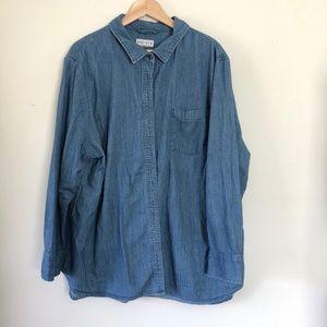 Plus Jean Denim Long Sleeve Button Down Top Shirt